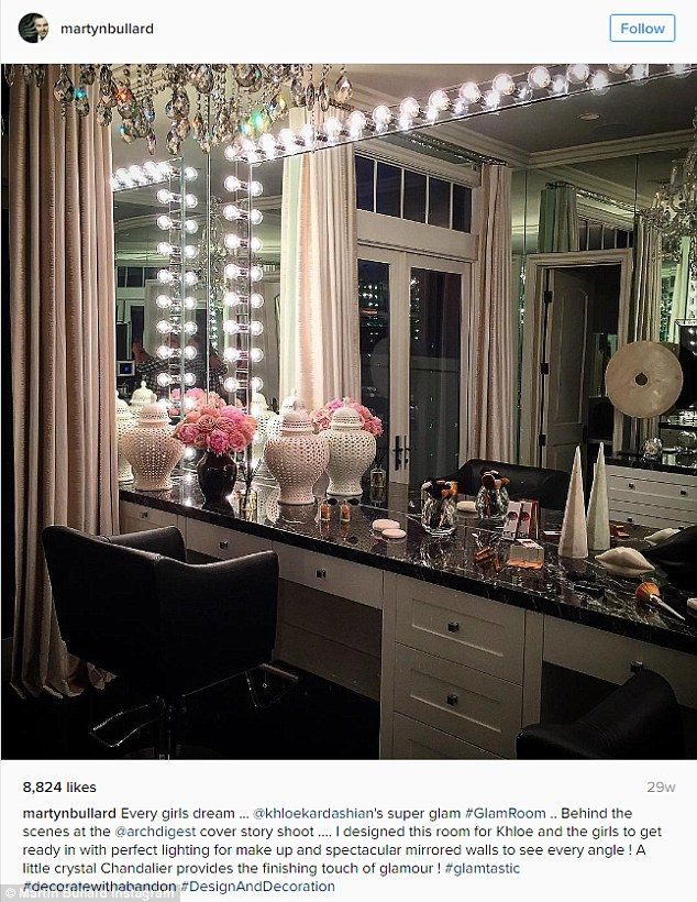 Wow factor: Glamour mirrors are common fare for the Kardashian-Jenner family as Martyn Lawrence Bullard, who designed their glam rooms, opened up to People about the process