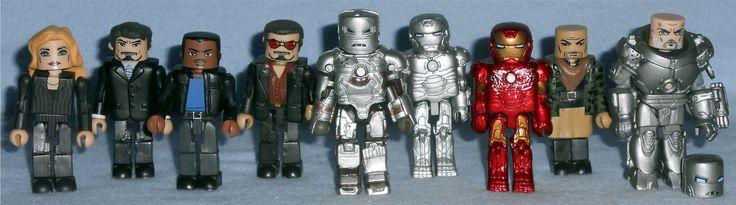 MiniMates - Marvel Original Iron Man Movie Figures Pepper Potts, Tony Stark, Jim Rhodes, Playboy Tony Stark, Iron Man Mark I, Iron Man Mark II, Iron Man Mark III, Raza, and Iron Monger