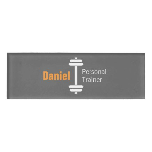 Gray Modern Fitness Personal Trainer Weights Name Name Tag