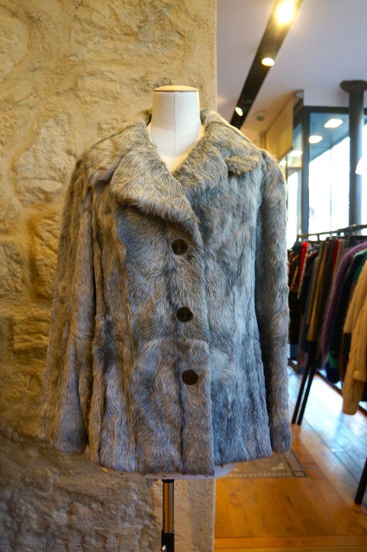 Creamy fur coat.