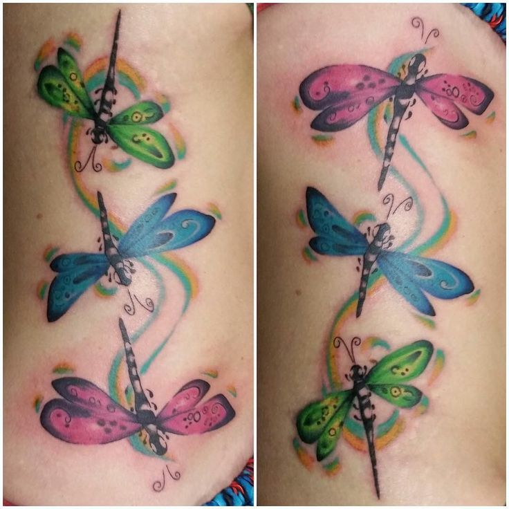 Sweet dragonfly trio by resident artist Dave Ramage.  #daveramage #skindecision #girlswithtattoos #truro #trurons #trurobuzz #beautiful
