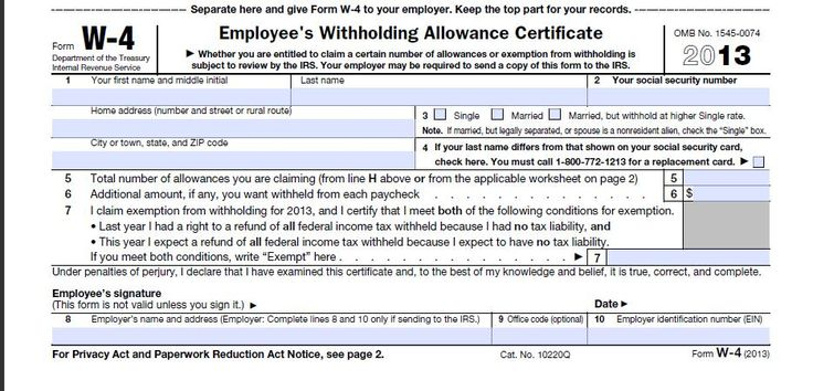 Download 2013 W-4 Form Federal Tax Form