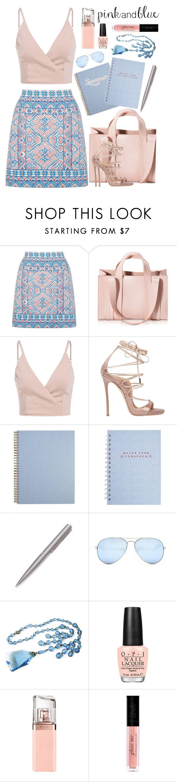 """Pink and Blue Summer Day"" by rasa-j on Polyvore featuring Oasis, Corto Moltedo, Dsquared2, Louis Vuitton, GUESS, OPI and HUGO"