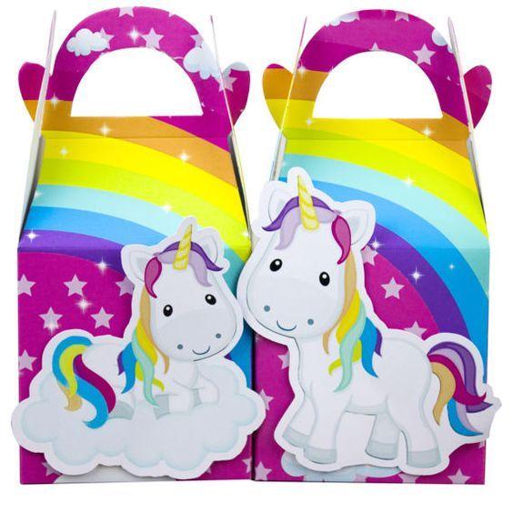 Arcobaleno unicorno bomboniera scatola Candy Box regalo scatola Cupcake casella ragazzi e ragazze bambini festa di compleanno forniture decorazione evento partito forniture