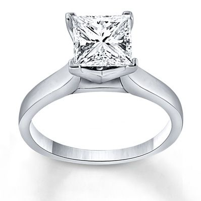 Certified Diamond Ring 5/8 Carat Princess-cut 14K White Gold