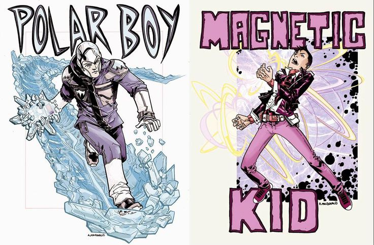 Art by the talented Andy MacDonald, Polar Boy and Magnetic Kid.