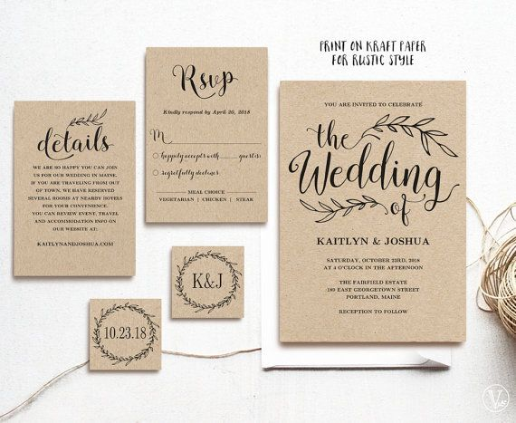 Vintage Wedding Invitation, Printable Wedding Invitations, Kraft Wedding Invitation, 5-Piece Suite, 3 colors included, Editable Text