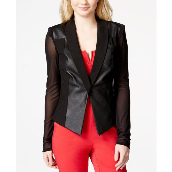 Material Girl Juniors Jacket, Faux-Leather Sheer-Sleeve Blazer ($45) ❤ liked on Polyvore featuring outerwear, jackets, blazers, caviar black, black blazer, vegan jackets, black vegan leather jacket, blazer jacket and faux leather jacket