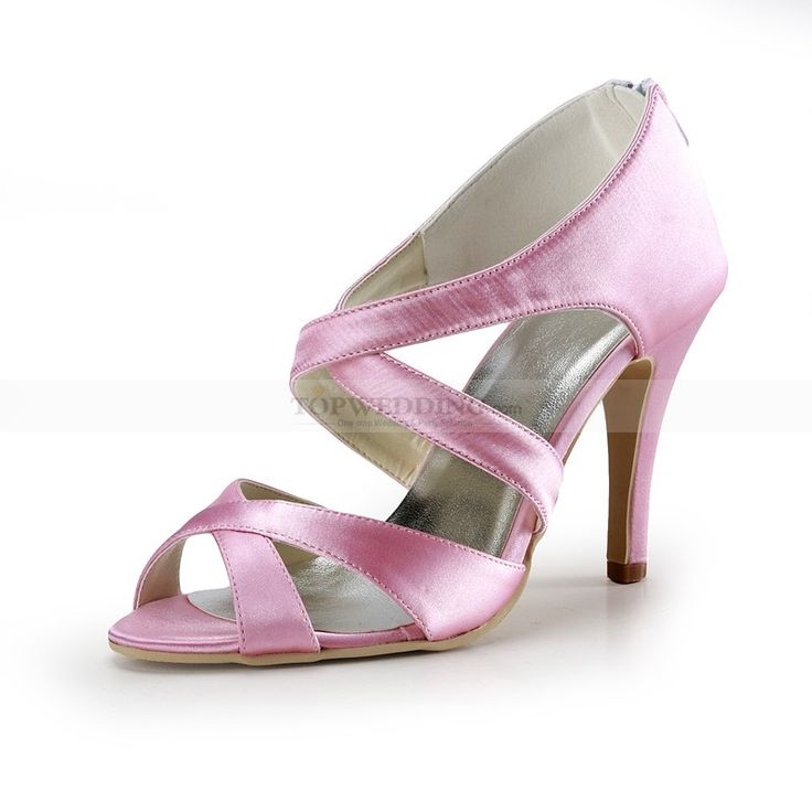 Crisscross Pink Satin High Heel Wedding Sandals