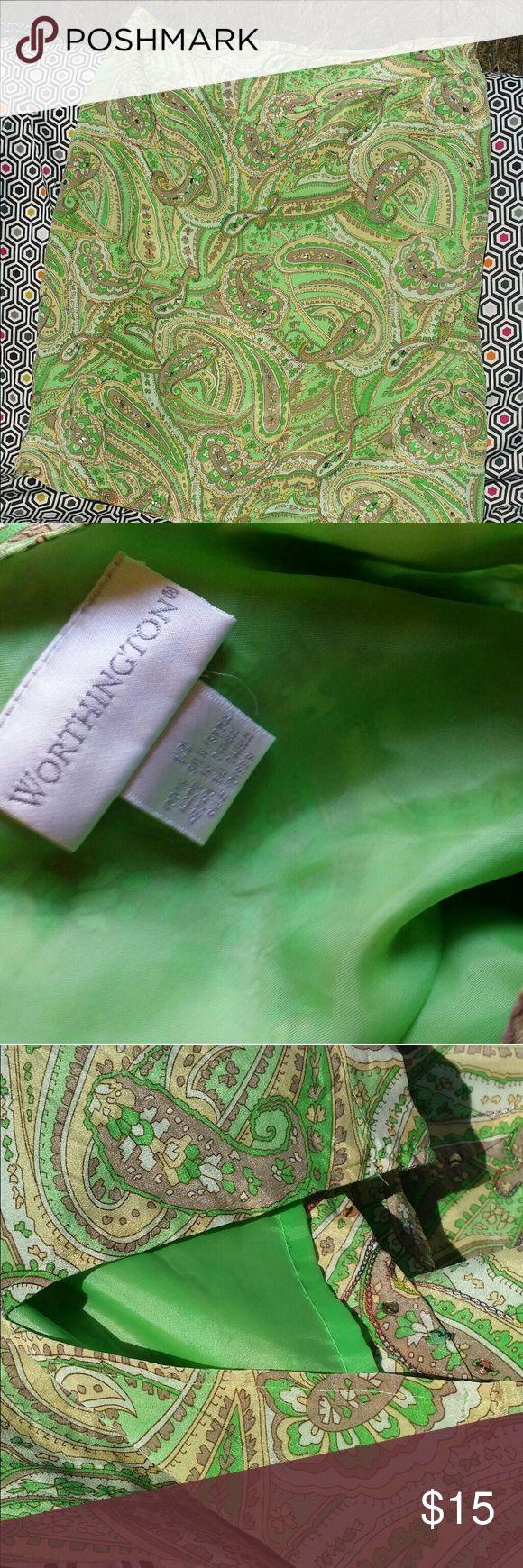 Paisley spring green mini skirt Fun paisley skirt by Worthington size 12.  Greens and cream wity sequin details. Worthington Skirts Mini