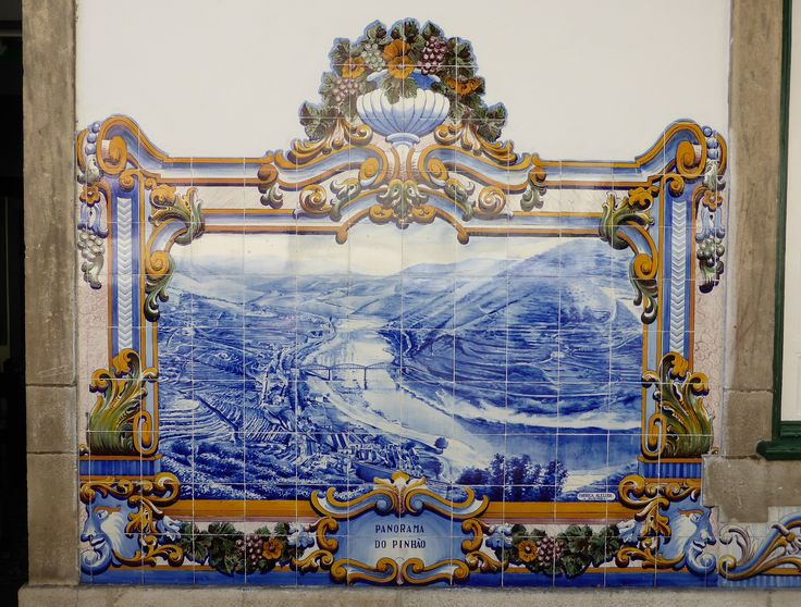 Azulejos on the train station building in the small town Pinhão