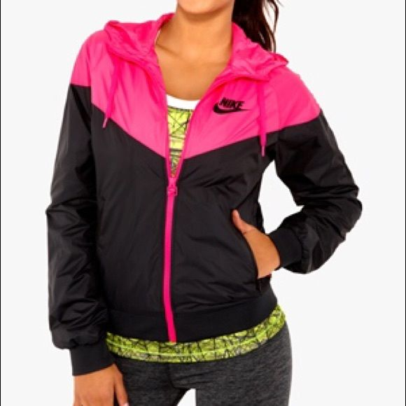 Nike Women's Windbreaker Black and pink Nike windbreaker. Worn a few times.   Still deciding to part with it but will take good offer if price is right. Nike Jackets & Coats