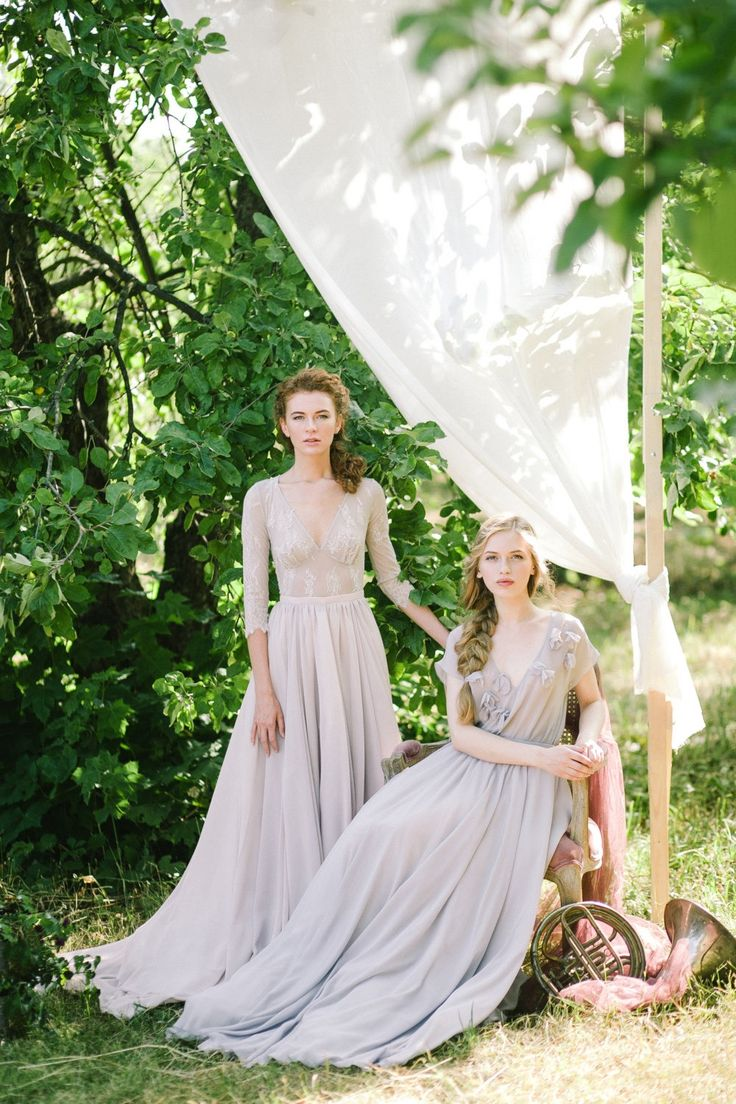 Soft gray bridesmaid dresses. The perfect compliment to any color palette.