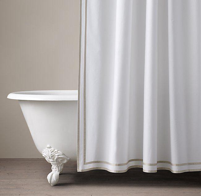 Parallel Border Turkish Cotton Shower Curtain Luxury Shower