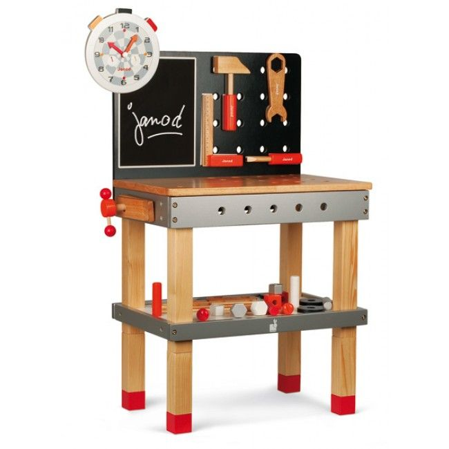 Janod - Tool Work Bench and Tools  #Entropywishlist #pintowin A little boy's dream! No more plastic tools and somewhere to store and play with them too! Wow!