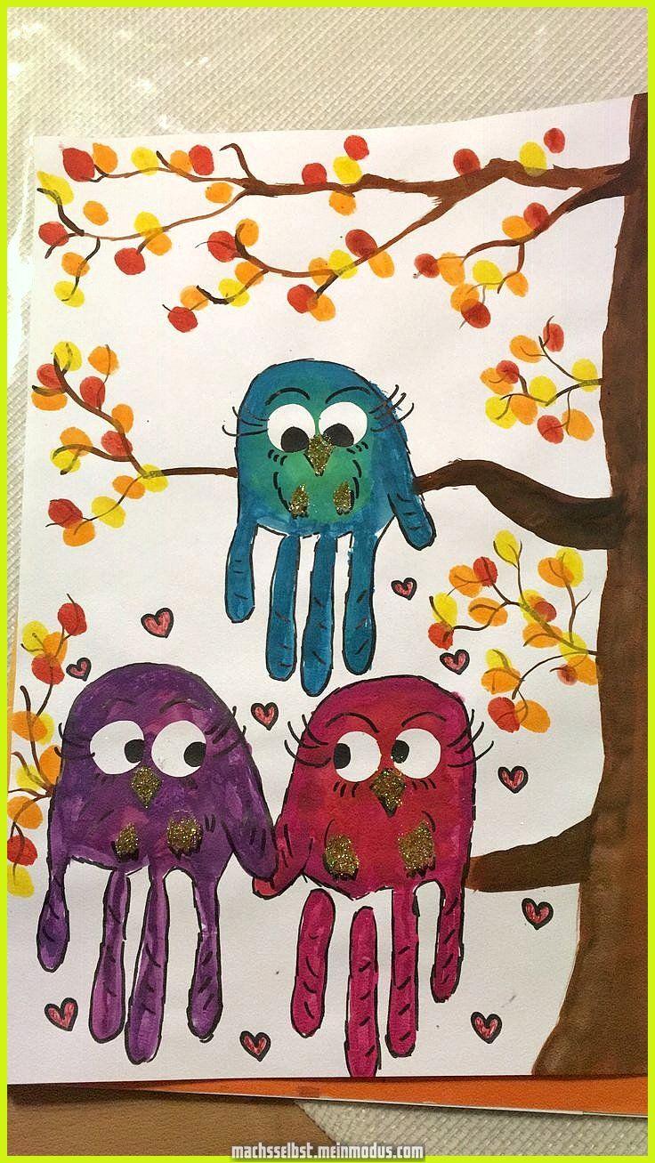Großartig Kindergarten Idee Handabdruck qua Uhu, Fingerabdrücke qua Blätter #eule #sauer …