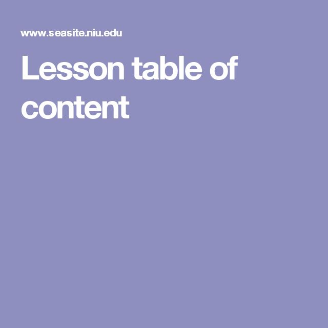 Lesson table of content
