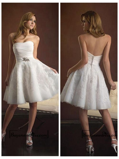 Beach Taffeta & Organza Satin Ruched Bodice Softly Curved Neckline Short and Sassy Wedding Dresses