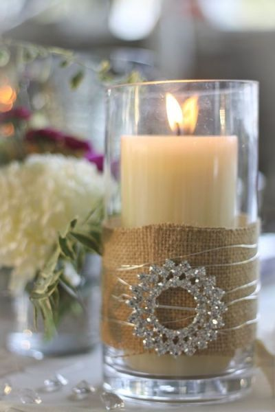 Put Burlap around a Glass Candle holder ... wind decorative bendable wire ( or ribbon, rafia, string etc )  and add an old costume jewellery Brooch or odd earring, bracelet, anklet ....: Bling, Crystals, Decor, Ideas, Brooches, Vintage Pin, Candles Centerpieces, Candles Holders, Burlap Candles