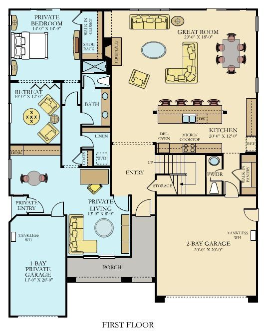 4,122 square feet. Next Gen by Lennar . Great room for sewing. Two bay garage for fabric. Five bedroom and three baths upstairs. Don't need it but may need for resale value later. Tina private area is blue side. One of my favorites.
