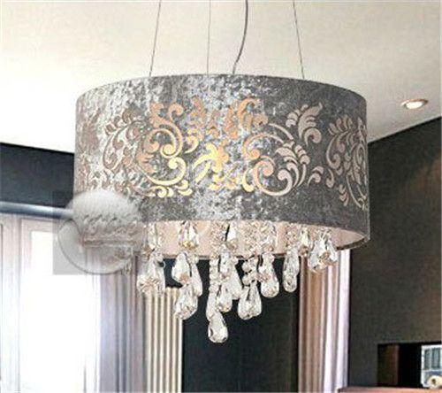 Silver Drum Shade Crystal Ceiling Chandelier Pendant Light Fixture Lighting Lamp