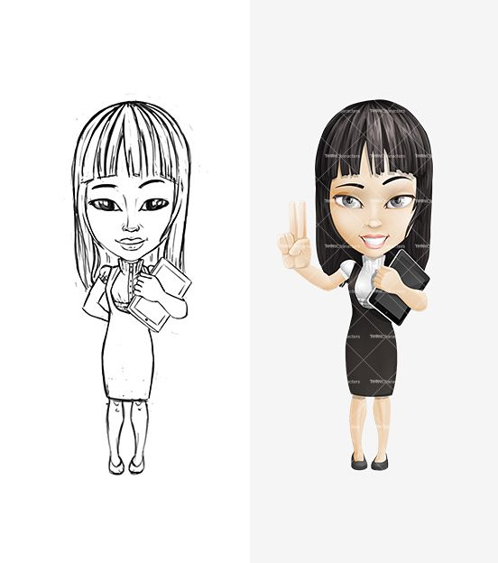 Pretty Girl Cartoon Character - Sketch & Final Illustration http://tooncharacters.com/female-cartoon-characters/pretty-girl-cartoon-character-set/