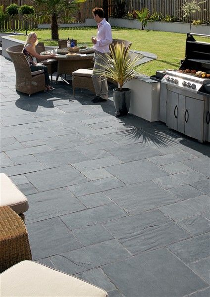 Slate patio floor.
