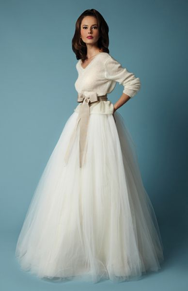 Juliet with Imogene - Imogene, full length gathered skirt of layered silken tulle, worn with Juliet, feather light cashmere/angora reversible V neck cardigan. Perfect for a mid winter fireside wedding.  - http://fancybridalny.com