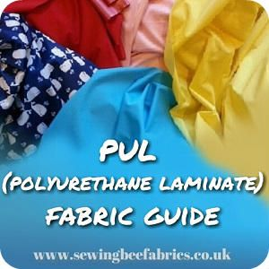 Sewing Bee Fabrics Tutorial Fabric Guide - PUL (Polyurethane Laminated) Fabric PUL FABRIC is the most versatile waterproof fabric I have come across and yet somehow this amazing fabric has yet to make it to most fabric stores. Originally designed for use in the medical industry to withstand... #pul