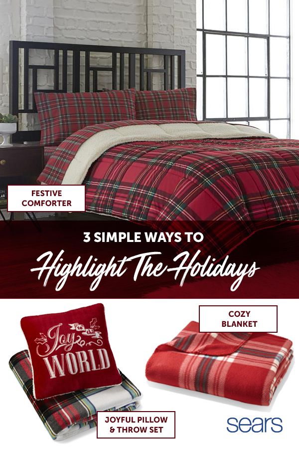 Don't forget to bring festive Christmas cheer to the bedrooms with warm comforters and cozy throws. Cannon Down Alternative comforters will keep you and your guests comfy and warm all season long. The classic red plaid design adds a pop of Christmas delight to any bed! Keep the chill at bay this season with a luxurious plaid plush throw from Cannon. Finally, your guests can snuggle up in festive style with a pillow and throw set from Cannon.