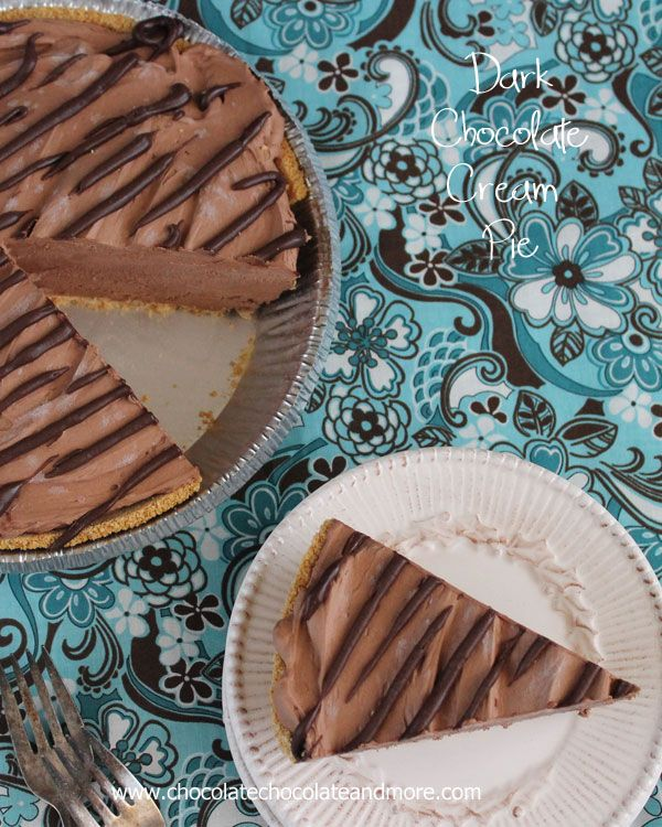 Dark Chocolate Cream Pie-don't let the lighter color fool you, this pie has all the rich flavor of dark chocolate in a creamy, cool pie!
