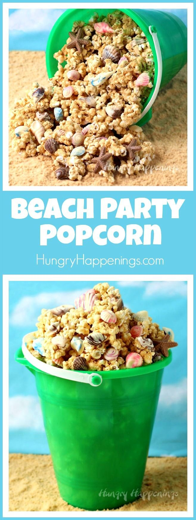 Fill up your beach pail with crunchy peanut butter popcorn that's coated in sandy looking cookie crumbs and speckled with homemade chocolate sea shells. This Beach Party Popcorn will make a festive treat for your pool party or beach themed events. - From http://hungryhappenings.com