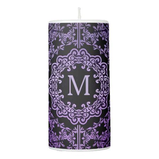 Monogram Purple Filigree Motif Candle