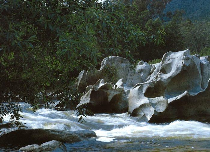 water rushing over rocks Thredbo.
