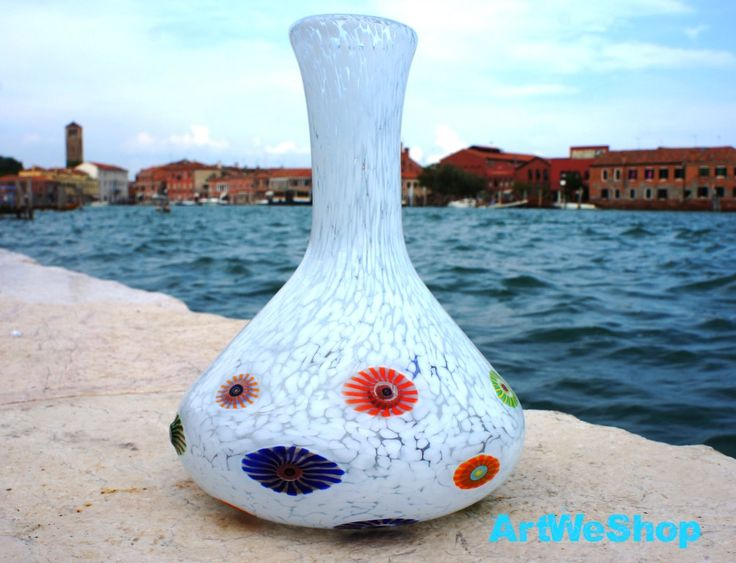 Glass Wedding Gift from Venice, Handmade Murano Glass Flower Vase, Unique White Glass Vase Italian Art Glass Centerpiece, One of a kind Gift by ArtWeShop on Etsy