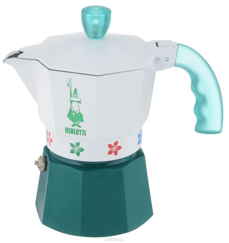 Кофеварка гейзерная Bialetti Moka Fiori Caldaia Verde, цвет: белый, зеленый, на 3 чашки