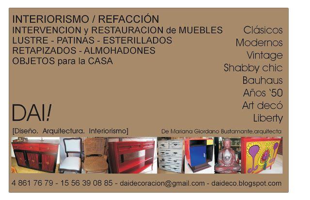 En DAI! te ofrecemos diseños a medida y restauración e intervención de muebles. Te esperamos.