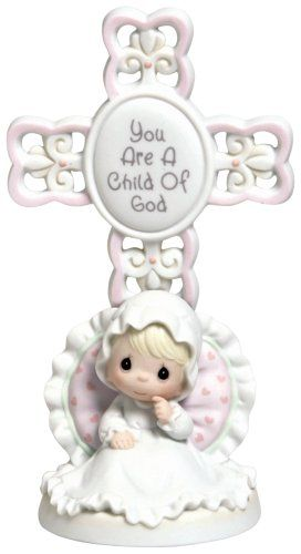 When a precious baby joins God's family, it is a blessed event indeed.  These commemorative porcelain crosses have a space on the back to personalize with baby's name and christening date. Precious Moments does not personalize this.  Personalization can be done by the customer.