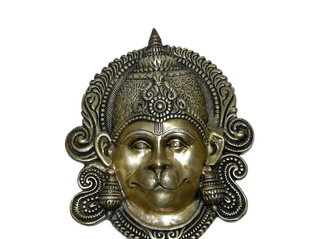 Brass Mask of Hindu God Hanuman Meditation Room Decor $150.00