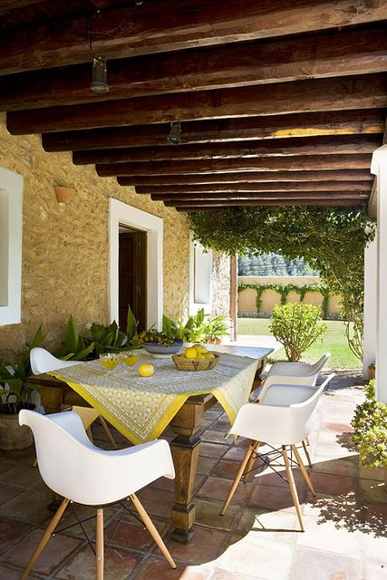 .: Modern Chairs, Summer House, Rustic Lights, House Style, Home Design, Farmhouse Tables, Outdoor Area, Style File, Ibiza Spain
