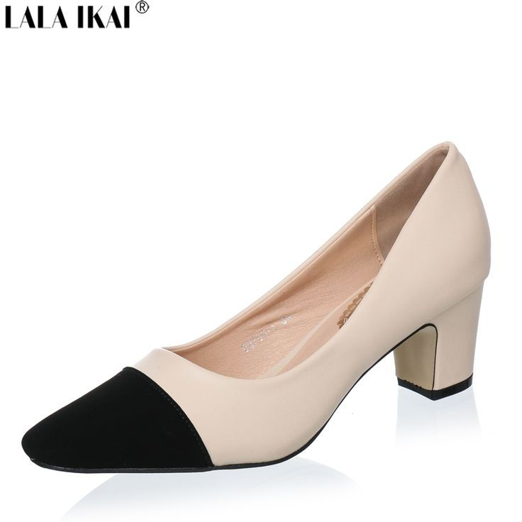Find More Women's Pumps Information about LALA IKAI Beige Black High Heels Women Pumps Women Med Heels Pointed Toe Pumps Women Shoes XWB0062 5,High Quality shoe pedometer,China shoes kvoll Suppliers, Cheap shoes walkers from King's Shoes on Aliexpress.com