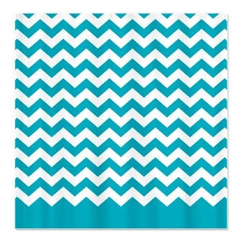 chevron pattern teal Shower Curtain - wonder if I could paint this for kids bedroom curtains?