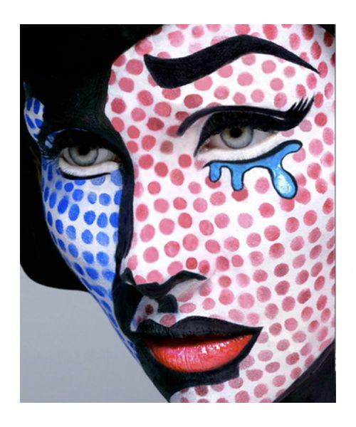 pop artHalloween Costumes, Comics Book, Halloween Makeup, Makeup Ideas, Book Character, Pop Art Makeup, Face Painting, Halloween Ideas, Roy Lichtenstein