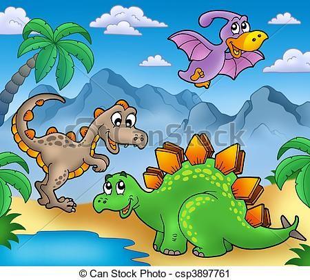 Clipart de paisaje, dinosaurios, 2, -, Color, Ilustración ...