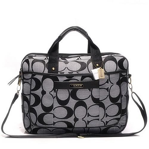 Coach In Monogram Large Grey Business bags DHJ Outlet Online
