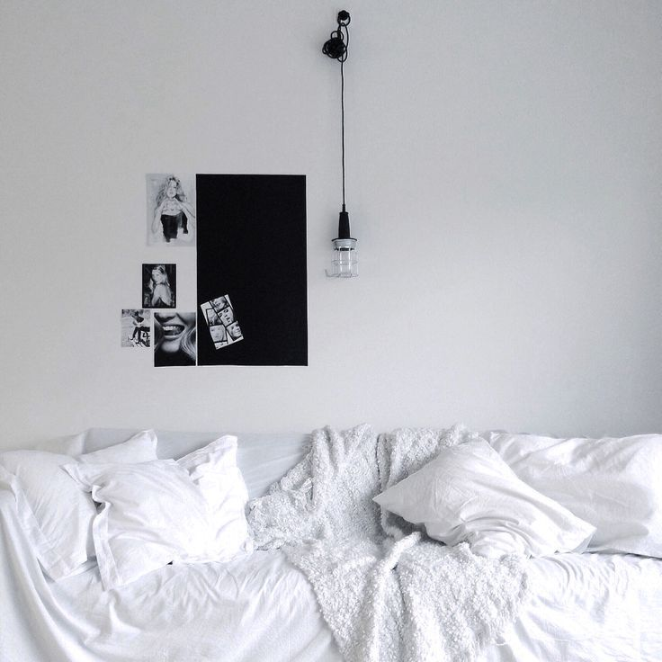 Monochrome living room - white couch - contrast - simple decor - my home