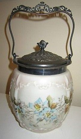 Antique Victorian Silverplate Biscuit Jar Wavecrest