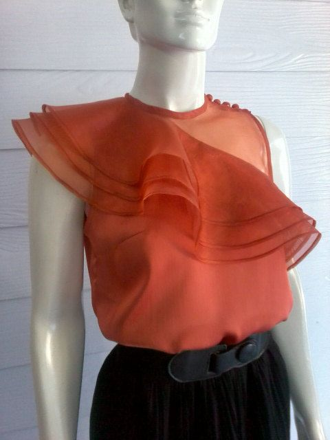 Orange Satin & Organdy Blouse