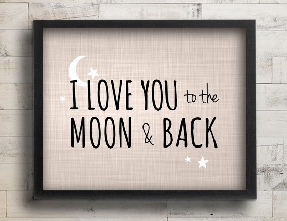I Love You to the Moon & Back Nursery Decor - Celestial Stars Blue Nursery Art - Baby Boy Nursery Wall Art - Guess How Much I Love You Quote...