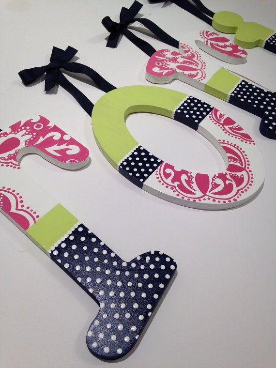 Custom hand painted wooden wall letters pink por MySweetDreamsArt